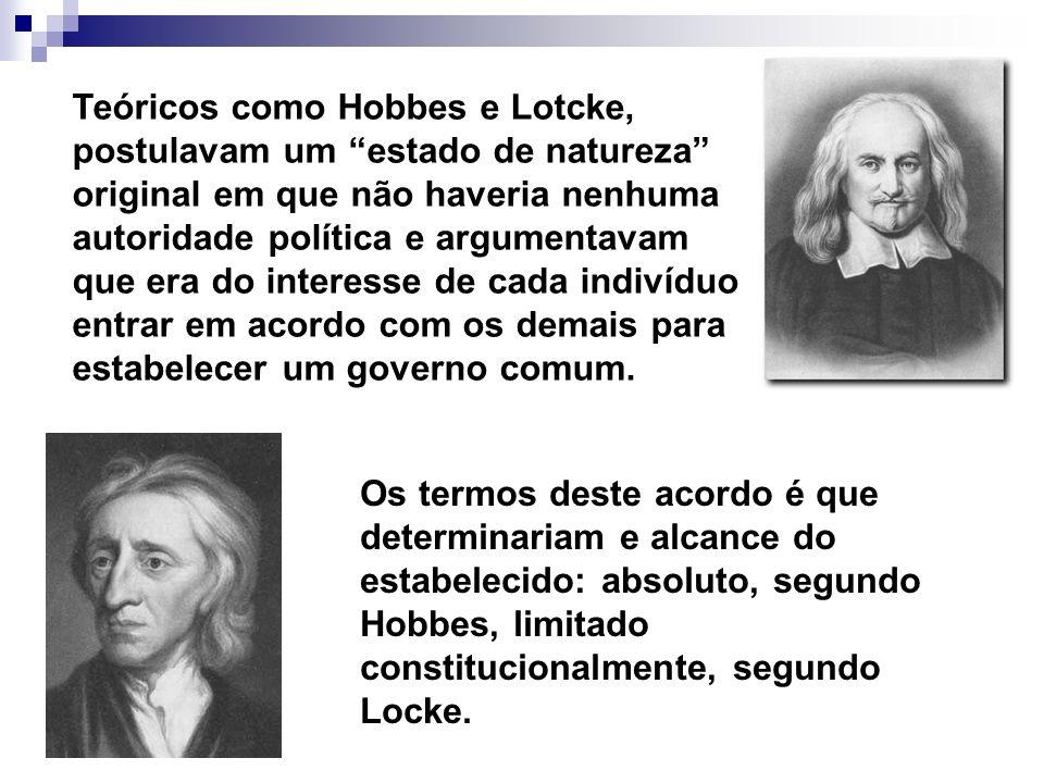 Teóricos como Hobbes e Lotcke, postulavam um estado de natureza original em que não haveria nenhuma autoridade política e argumentavam que era do interesse de cada indivíduo entrar em acordo com os demais para estabelecer um governo comum.