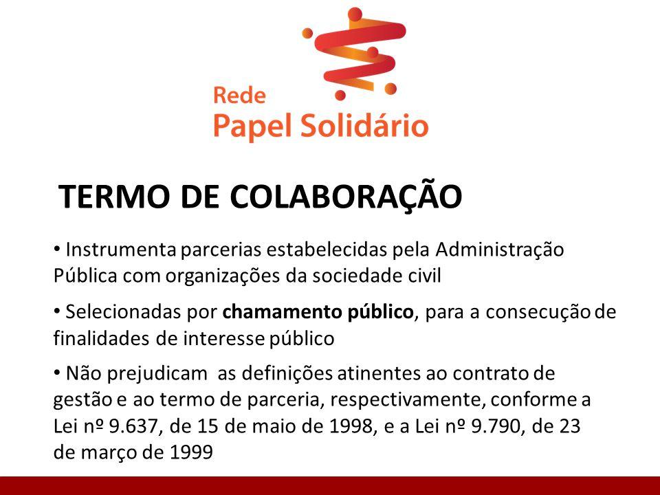 TERMO DE COLABORAÇÃO Instrumenta parcerias estabelecidas pela Administração Pública com organizações da sociedade civil.