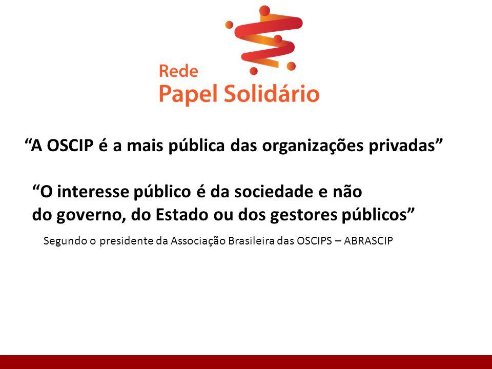A OSCIP é a mais pública das organizações privadas