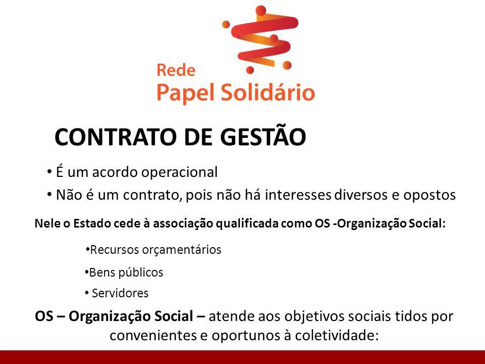 CONTRATO DE GESTÃO É um acordo operacional