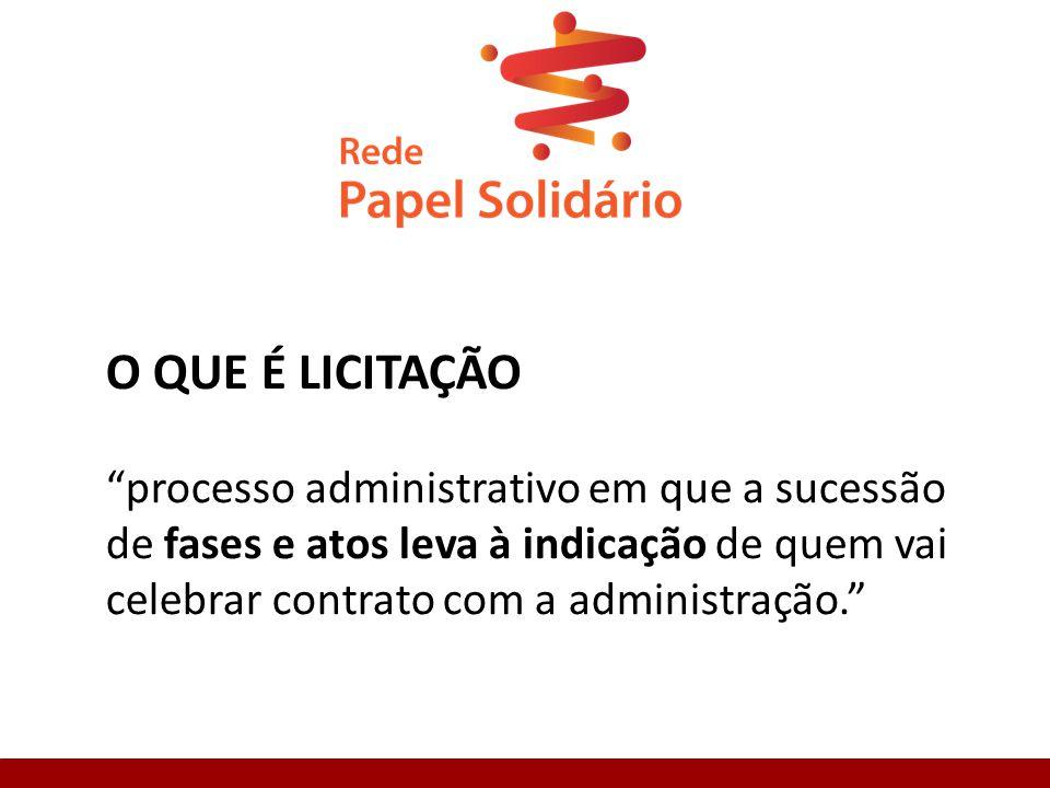 O QUE É LICITAÇÃO processo administrativo em que a sucessão de fases e atos leva à indicação de quem vai celebrar contrato com a administração.