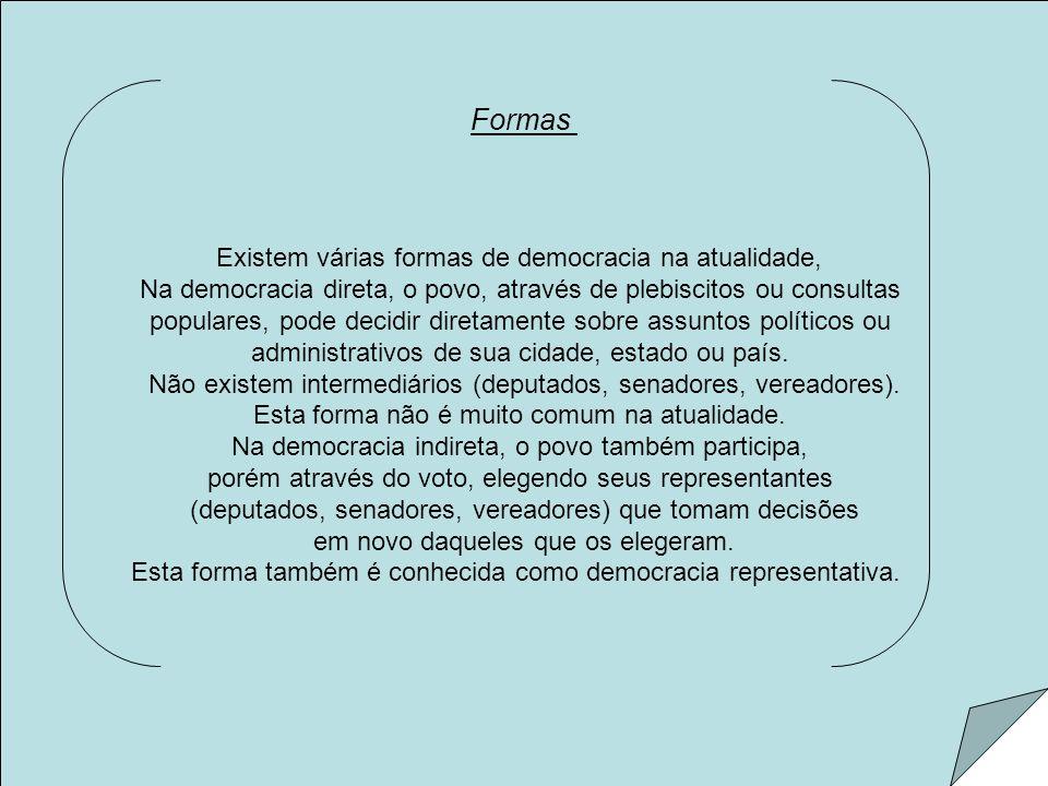 Formas Existem várias formas de democracia na atualidade,