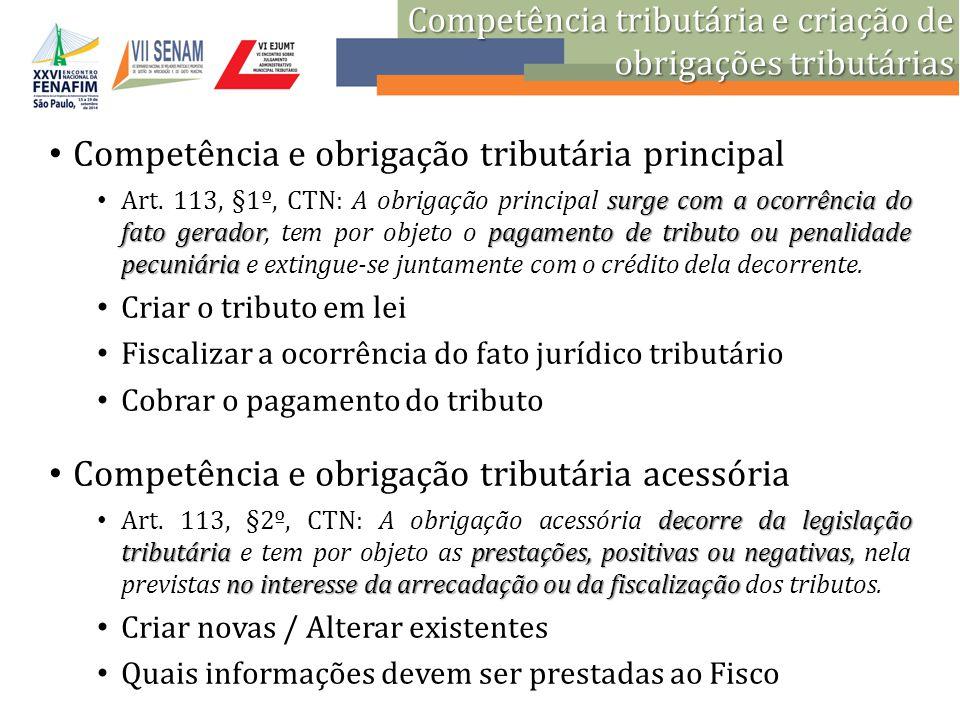Competência e obrigação tributária principal