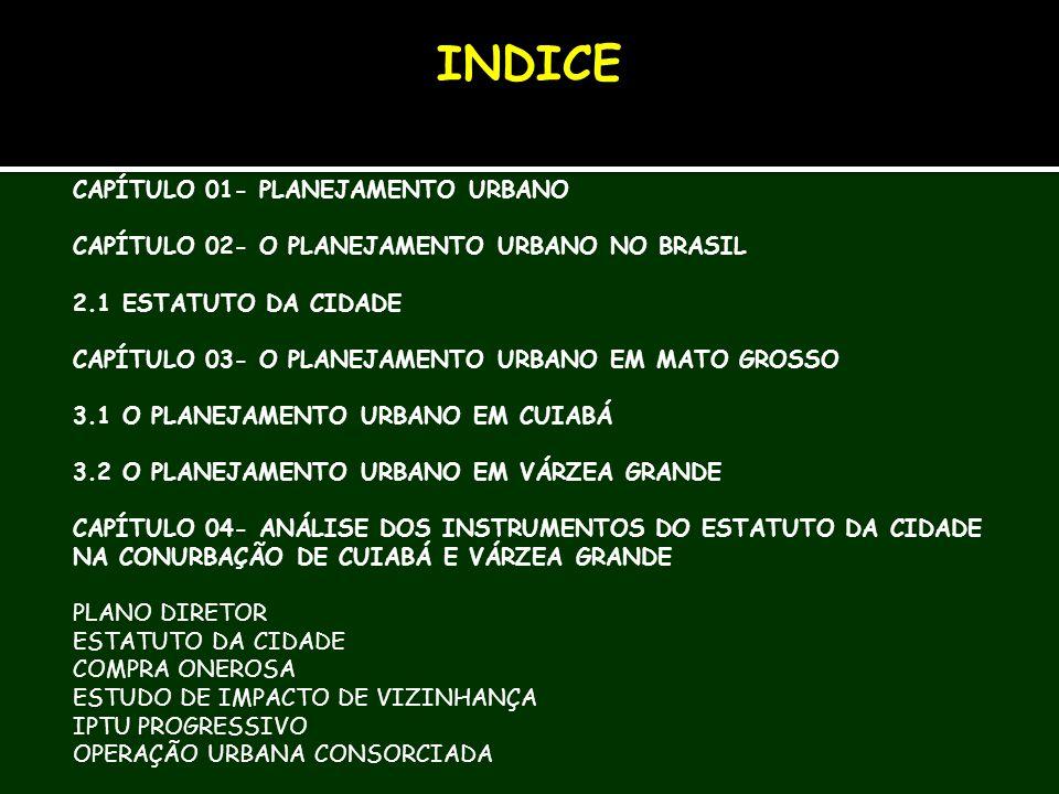 INDICE CAPÍTULO 01- PLANEJAMENTO URBANO