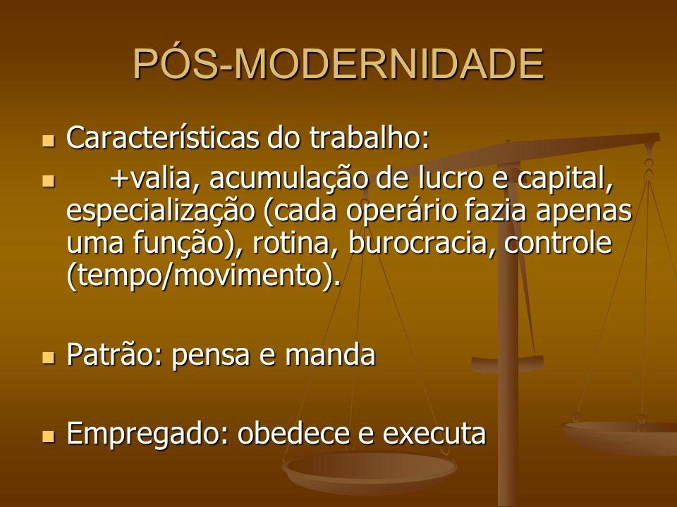 PÓS-MODERNIDADE Características do trabalho: