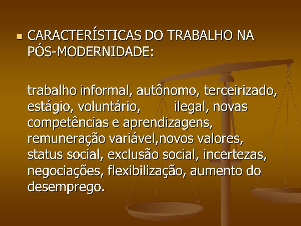 CARACTERÍSTICAS DO TRABALHO NA PÓS-MODERNIDADE: