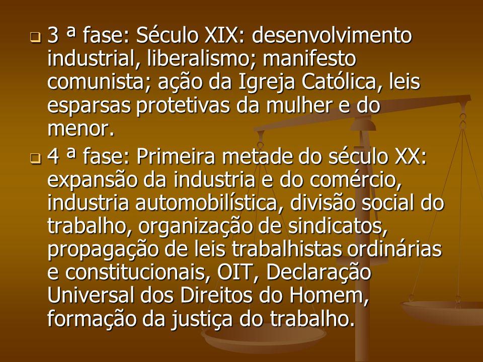 3 ª fase: Século XIX: desenvolvimento industrial, liberalismo; manifesto comunista; ação da Igreja Católica, leis esparsas protetivas da mulher e do menor.