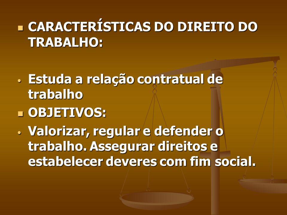 CARACTERÍSTICAS DO DIREITO DO TRABALHO: