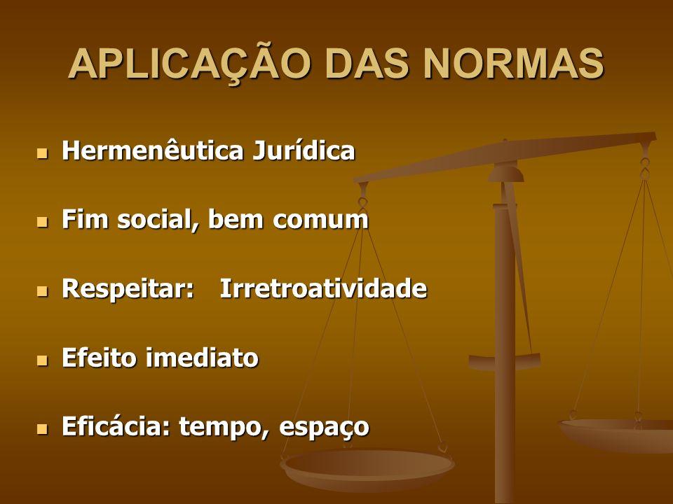 APLICAÇÃO DAS NORMAS Hermenêutica Jurídica Fim social, bem comum