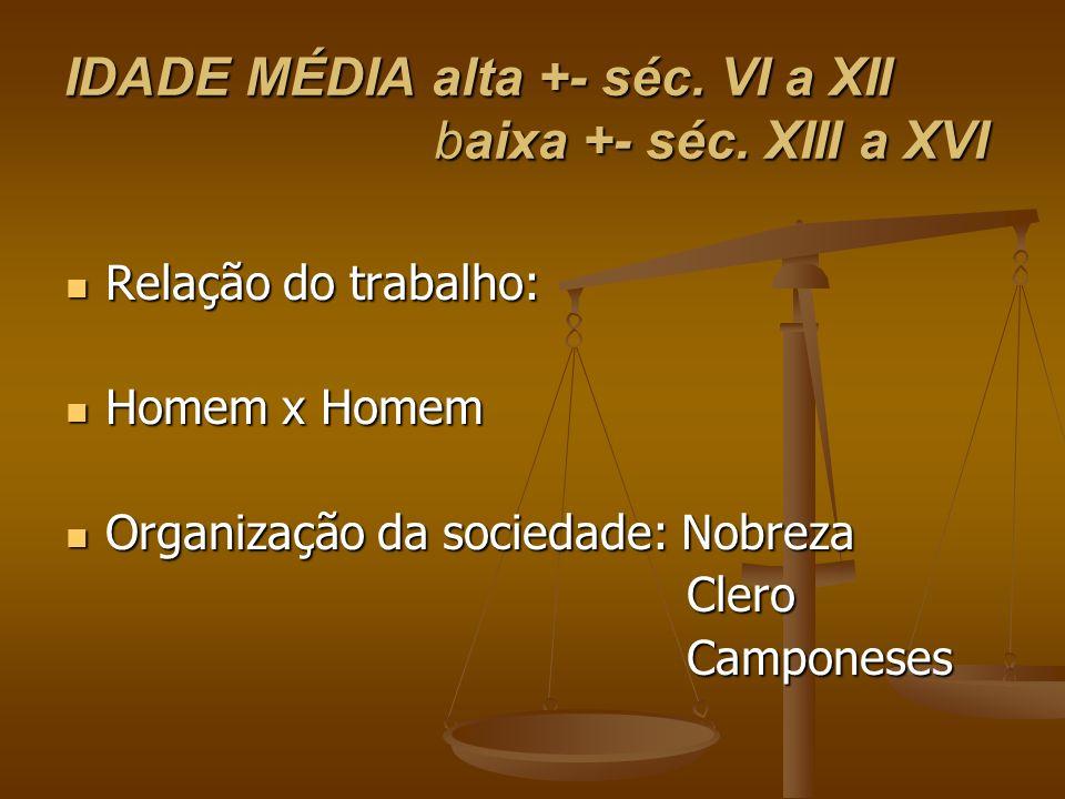 IDADE MÉDIA alta +- séc. VI a XII baixa +- séc. XIII a XVI