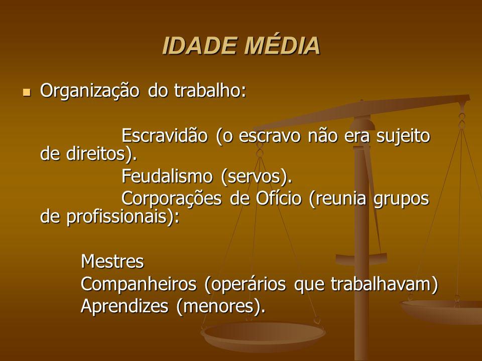 IDADE MÉDIA Organização do trabalho: