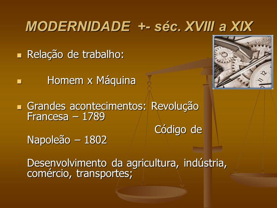 MODERNIDADE +- séc. XVIII a XIX