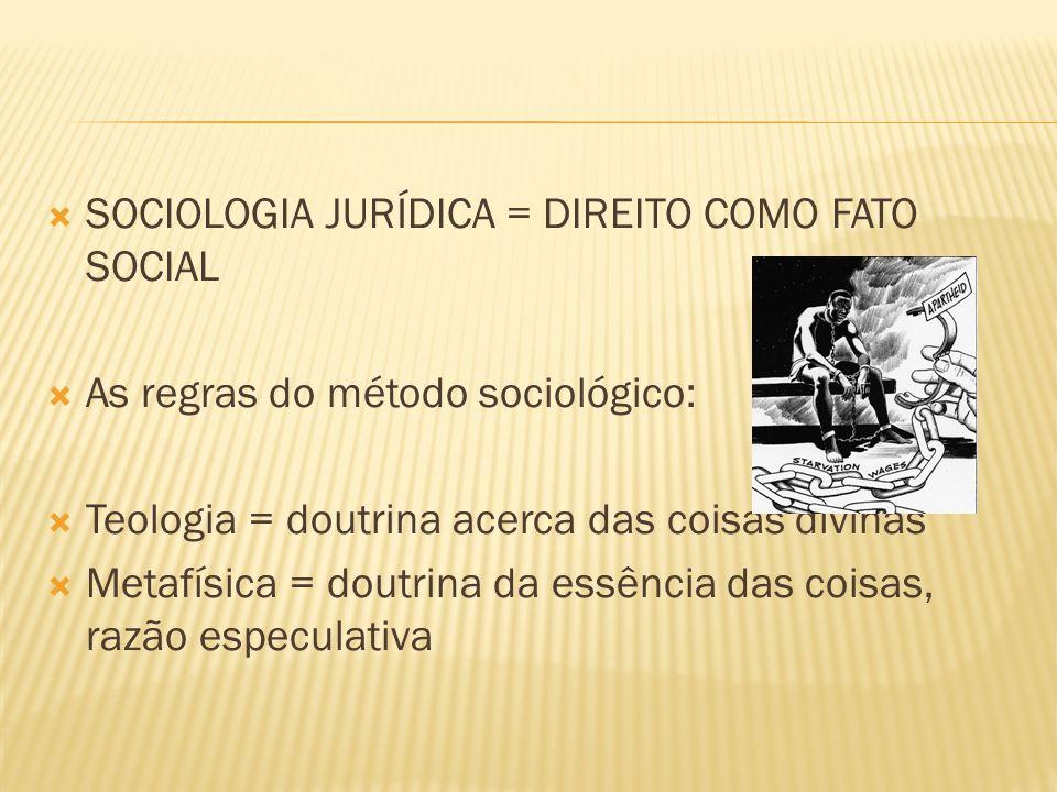 SOCIOLOGIA JURÍDICA = DIREITO COMO FATO SOCIAL