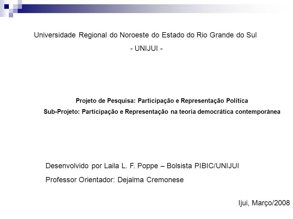 Projeto de Pesquisa: Participação e Representação Política