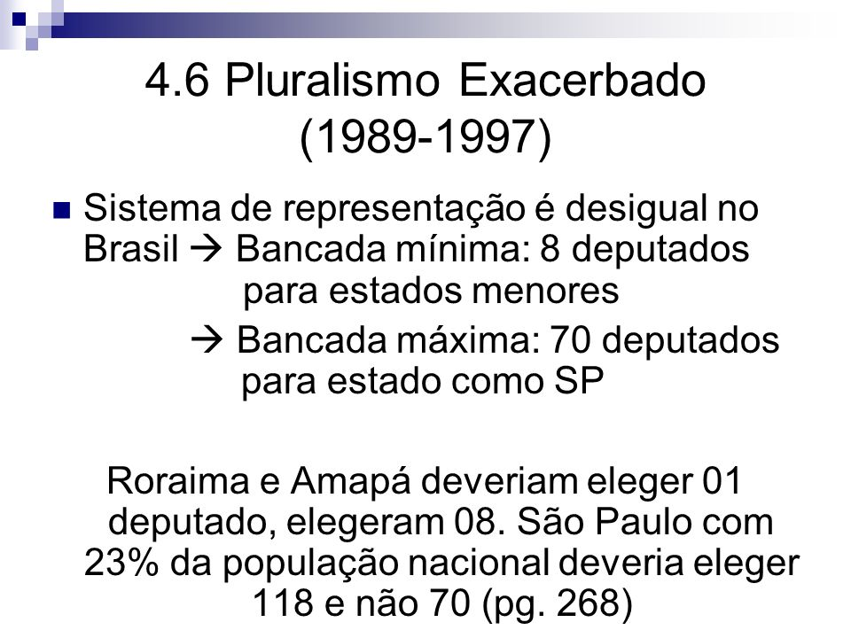 4.6 Pluralismo Exacerbado (1989-1997)