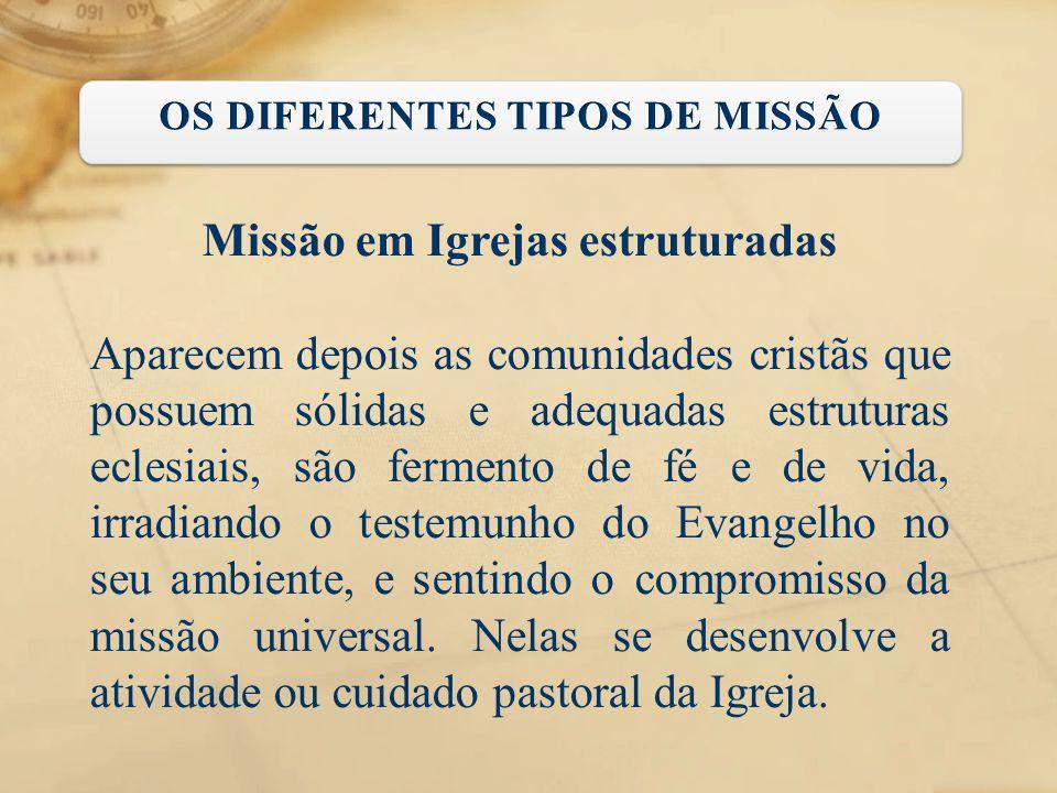 OS DIFERENTES TIPOS DE MISSÃO Missão em Igrejas estruturadas
