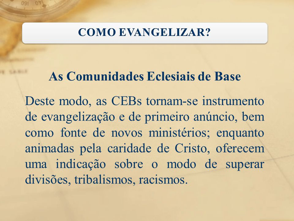 As Comunidades Eclesiais de Base
