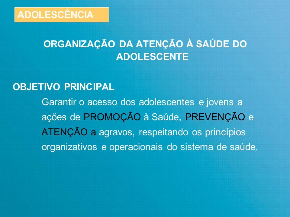 ORGANIZAÇÃO DA ATENÇÃO À SAÚDE DO ADOLESCENTE