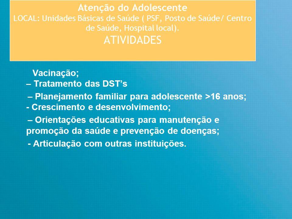 Atenção do Adolescente LOCAL: Unidades Básicas de Saúde ( PSF, Posto de Saúde/ Centro de Saúde, Hospital local). ATIVIDADES