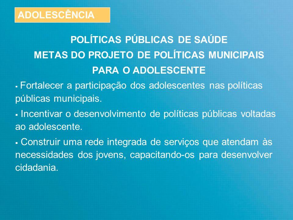 POLÍTICAS PÚBLICAS DE SAÚDE METAS DO PROJETO DE POLÍTICAS MUNICIPAIS