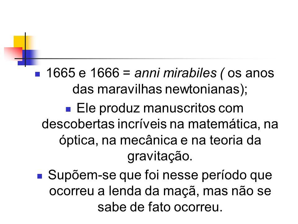1665 e 1666 = anni mirabiles ( os anos das maravilhas newtonianas);