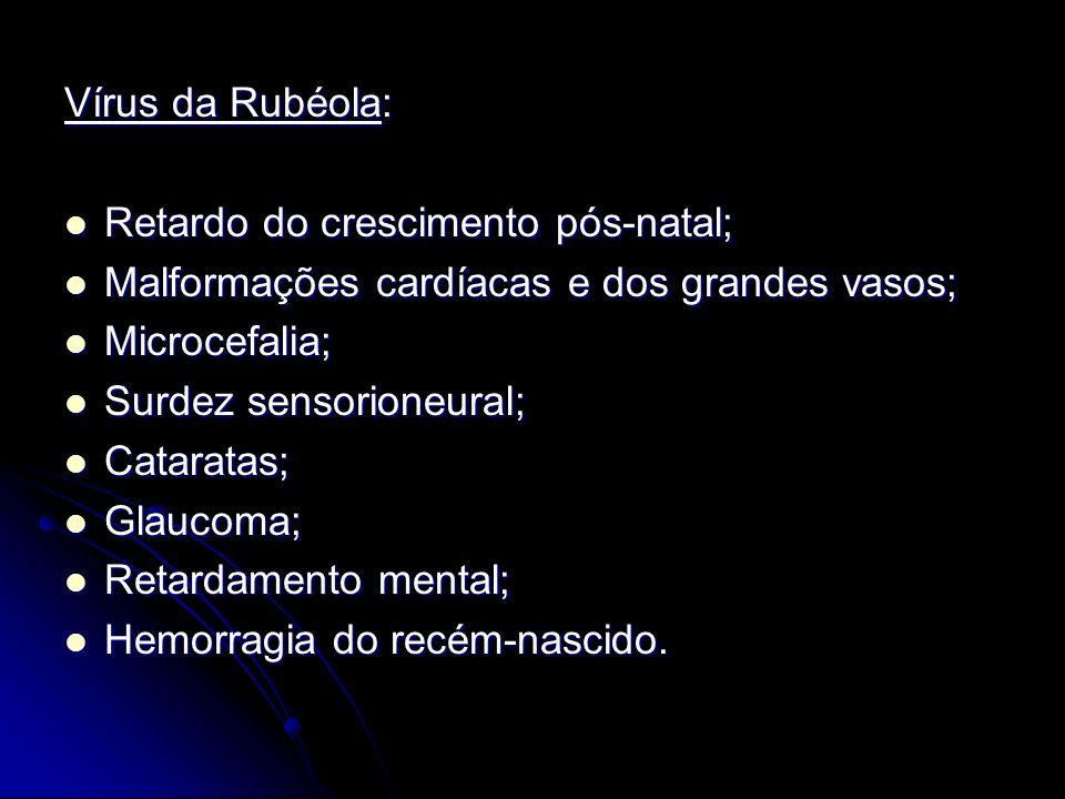 Vírus da Rubéola: Retardo do crescimento pós-natal; Malformações cardíacas e dos grandes vasos; Microcefalia;