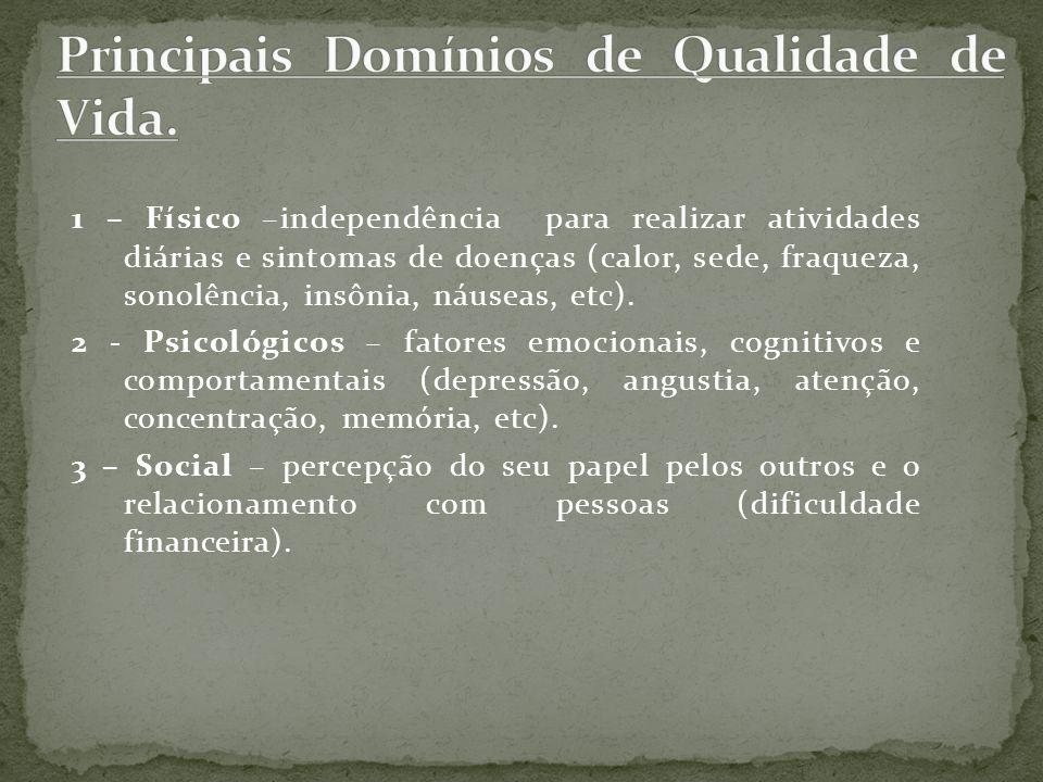 Principais Domínios de Qualidade de Vida.