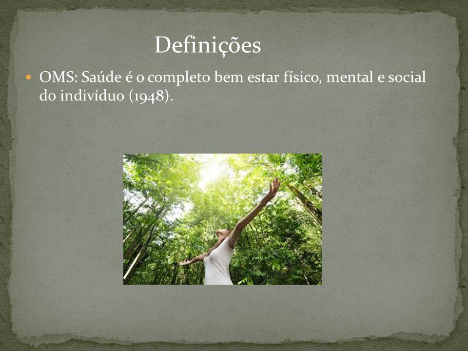 Definições OMS: Saúde é o completo bem estar físico, mental e social do indivíduo (1948).