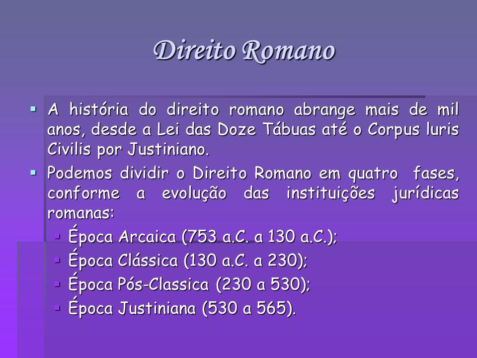 Direito Romano A história do direito romano abrange mais de mil anos, desde a Lei das Doze Tábuas até o Corpus luris Civilis por Justiniano.