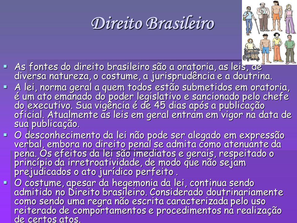 Direito Brasileiro As fontes do direito brasileiro são a oratoria, as leis, de diversa natureza, o costume, a jurisprudência e a doutrina.