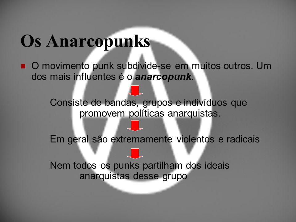 Os Anarcopunks O movimento punk subdivide-se em muitos outros. Um dos mais influentes é o anarcopunk.