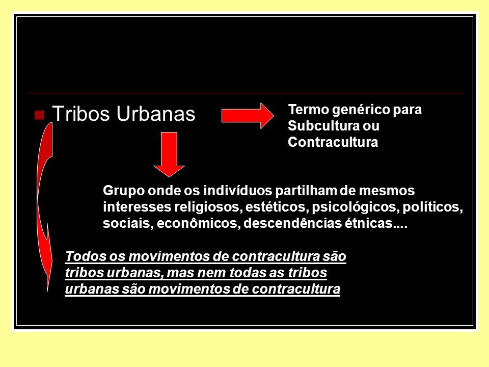 Tribos Urbanas Termo genérico para Subcultura ou Contracultura