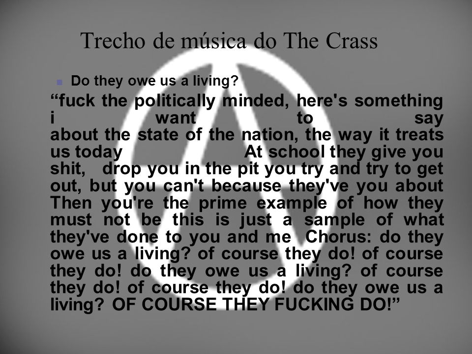 Trecho de música do The Crass