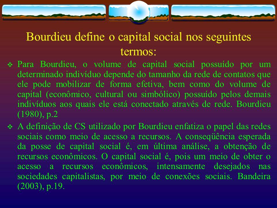 Bourdieu define o capital social nos seguintes termos: