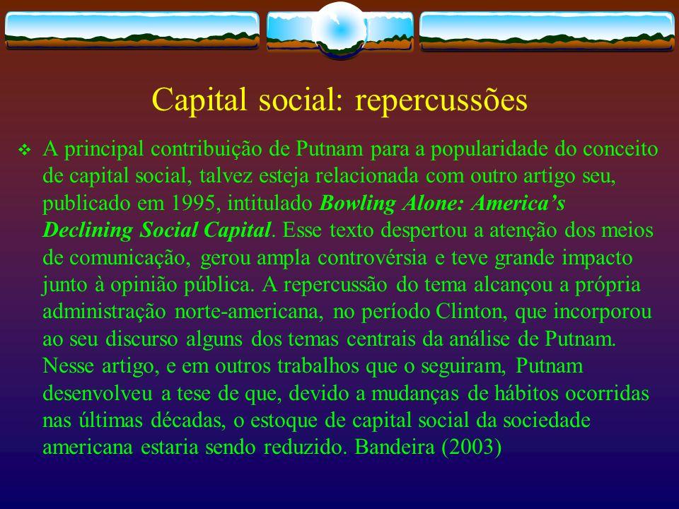 Capital social: repercussões
