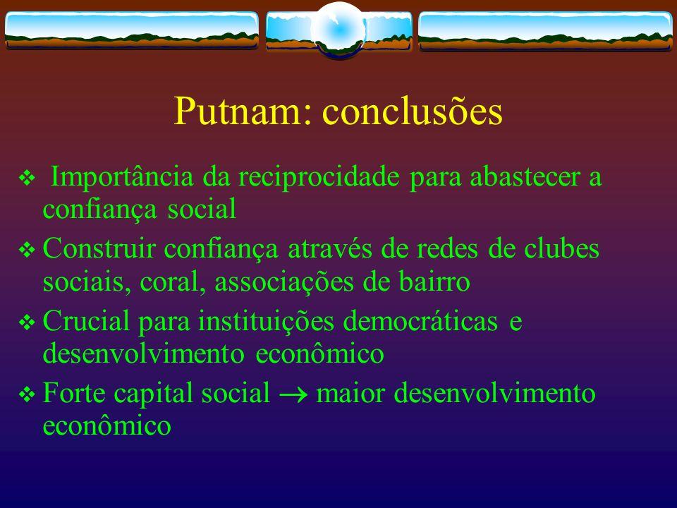Putnam: conclusõesImportância da reciprocidade para abastecer a confiança social.