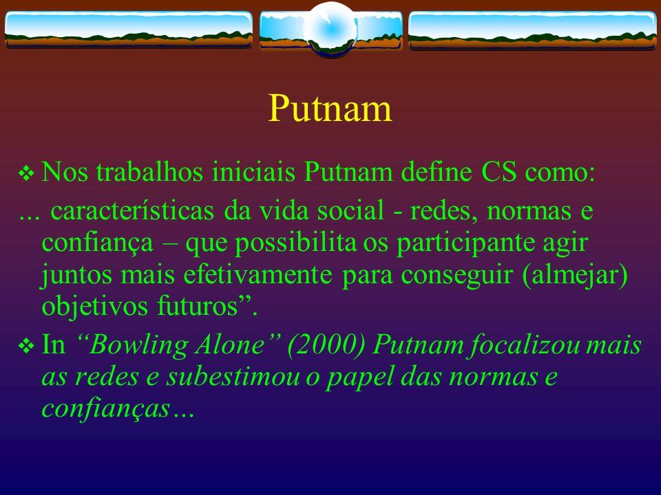 Putnam Nos trabalhos iniciais Putnam define CS como: