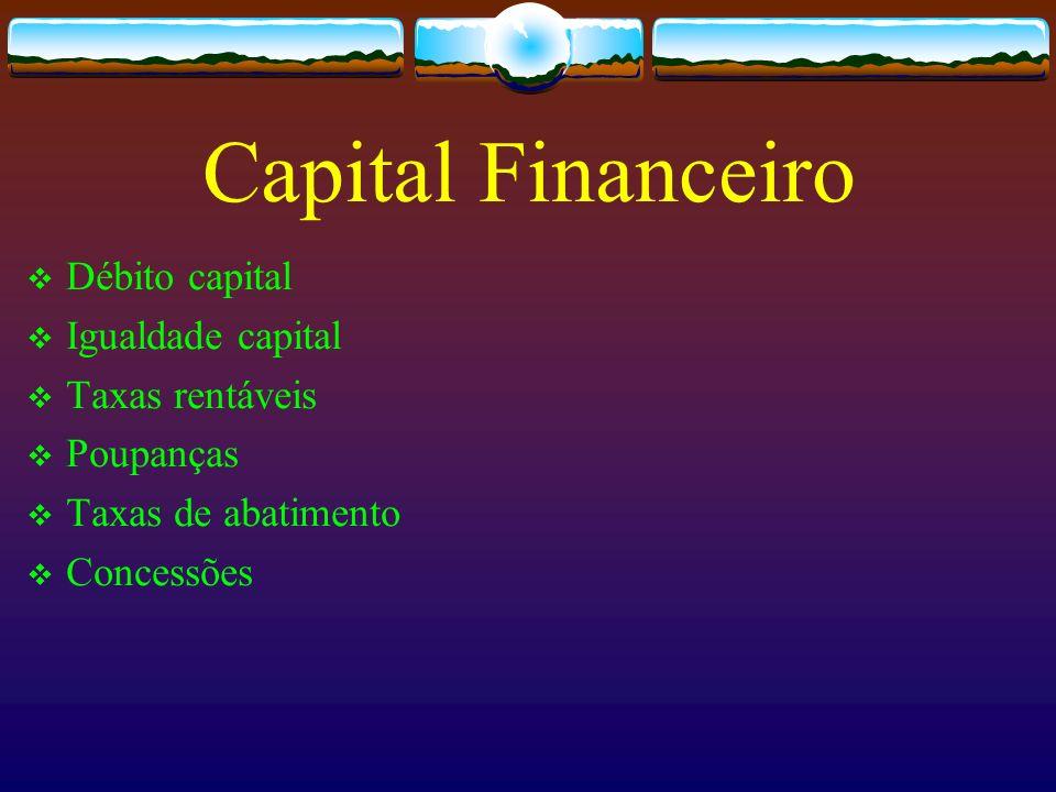 Capital Financeiro Débito capital Igualdade capital Taxas rentáveis