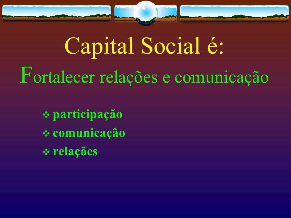 Capital Social é: Fortalecer relações e comunicação