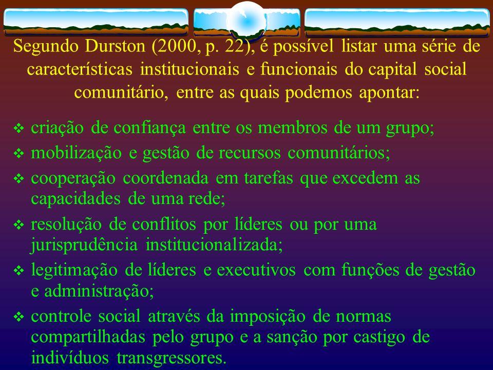 Segundo Durston (2000, p. 22), é possível listar uma série de características institucionais e funcionais do capital social comunitário, entre as quais podemos apontar:
