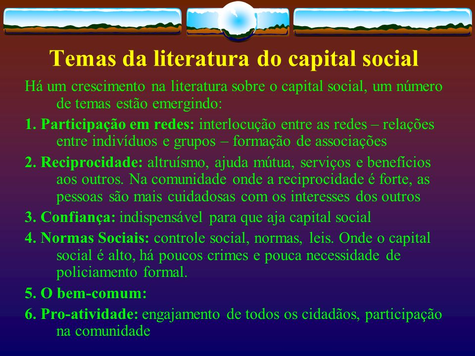 Temas da literatura do capital social