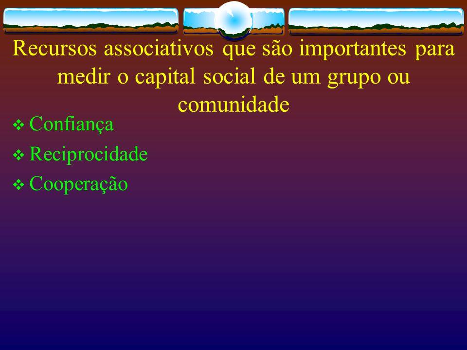 Recursos associativos que são importantes para medir o capital social de um grupo ou comunidade