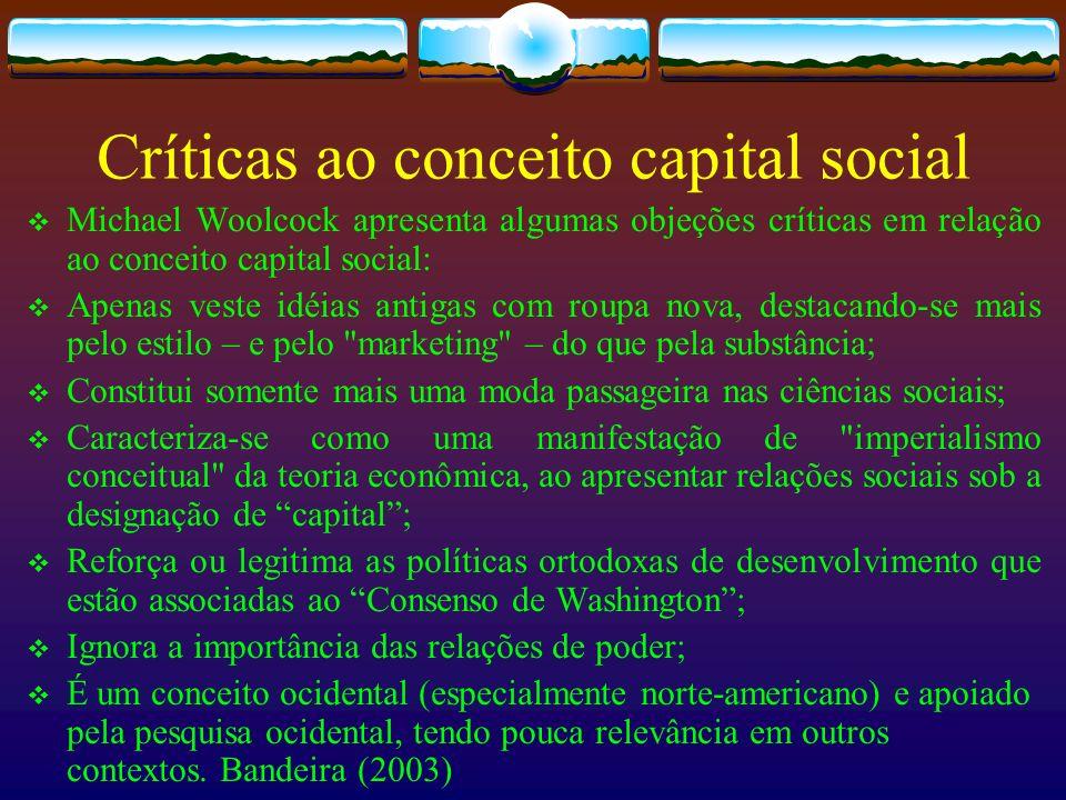 Críticas ao conceito capital social