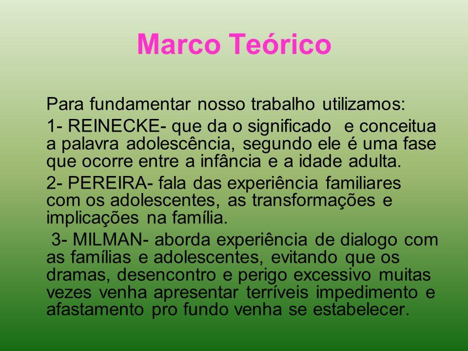 Marco TeóricoPara fundamentar nosso trabalho utilizamos: