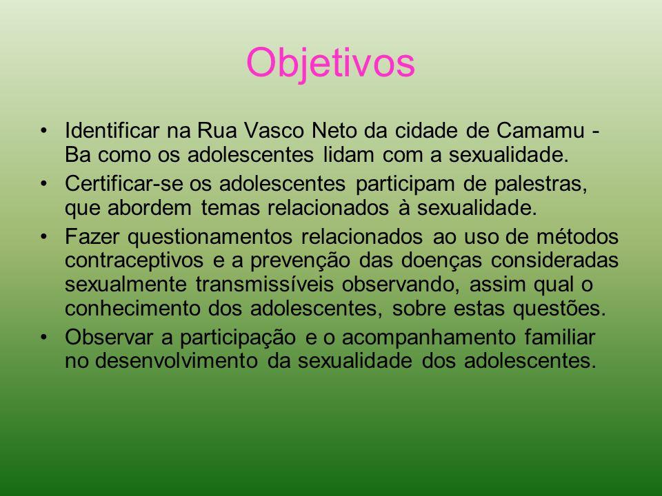 Objetivos Identificar na Rua Vasco Neto da cidade de Camamu - Ba como os adolescentes lidam com a sexualidade.