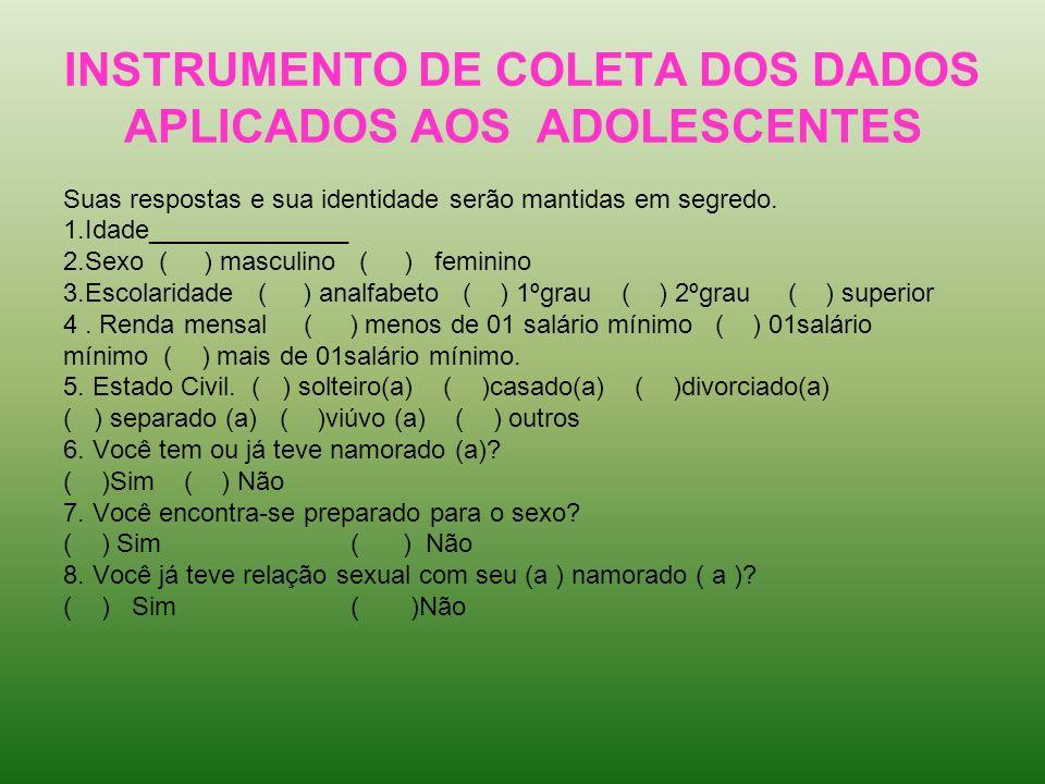 INSTRUMENTO DE COLETA DOS DADOS APLICADOS AOS ADOLESCENTES