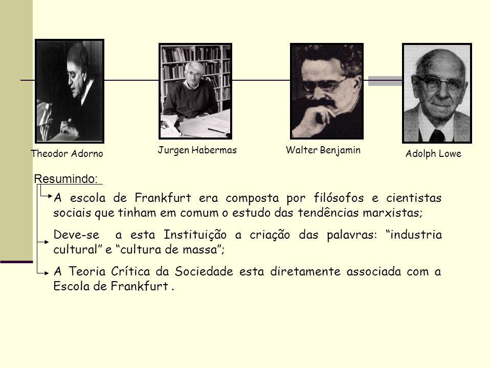 Jurgen Habermas Walter Benjamin. Theodor Adorno. Adolph Lowe. Resumindo:
