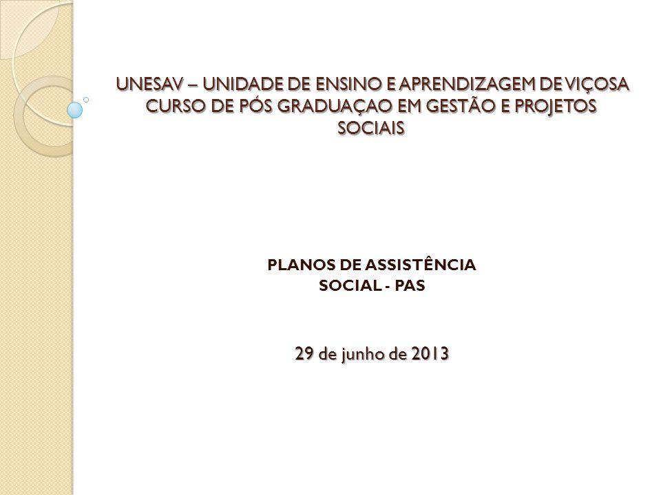 PLANOS DE ASSISTÊNCIA SOCIAL - PAS 29 de junho de 2013