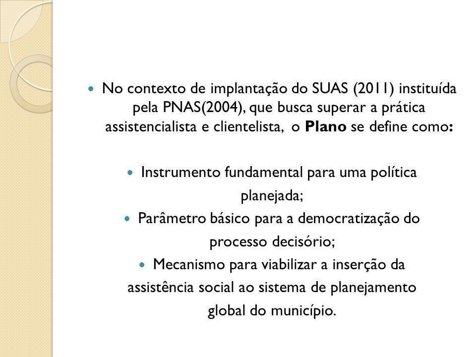 Instrumento fundamental para uma política planejada;