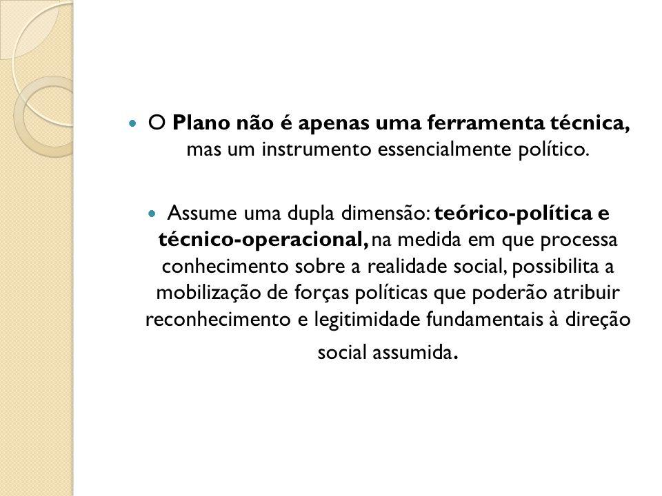 O Plano não é apenas uma ferramenta técnica, mas um instrumento essencialmente político.
